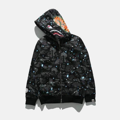 Худи Bape Shark Full Zip Black/Gray/Blue