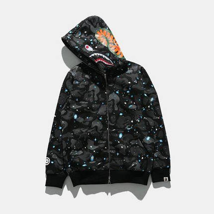 Худи Bape Shark Full Zip Black/Gray/Blue, фото 2