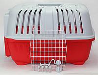 Переноска для кошек и собак Pratiko 2 (55х36х38см) до 18 кг. с металлической дверцей цвет красный