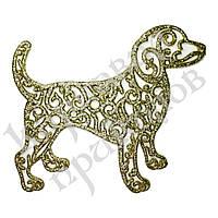 Украшение Собака Ажурная пластик 12х9см (золото)