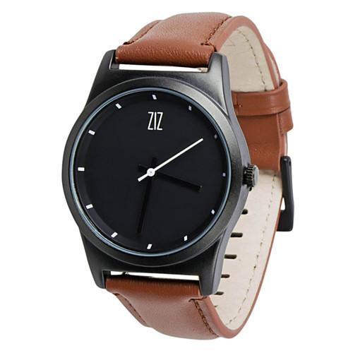 Наручний годинник на шкіряному ремінці Black коричневі (4100143)