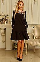 """Женское платье свободного кроя """"Селма"""" (черное), фото 1"""