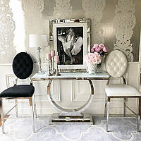 Консоль в прихожую гостиную в стиле гламур неоклассика итальянский лофт  белая сталь MARCELLO 2