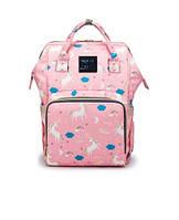 Рюкзак-сумка органайзер Baby-mo для мам единорог на розовом (55645)