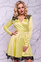 Женское нарядное платье, размер от 42 до 48, жёлтое, атласное с гипюром, короткое, праздничное, вечернее 46