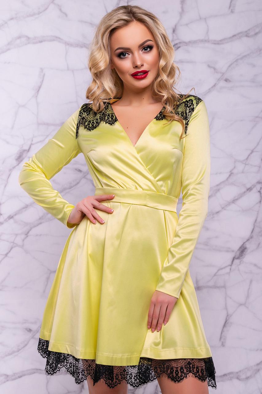 aa08392b62b768c Женское нарядное платье, размер от 42 до 48, жёлтое, атласное с гипюром,