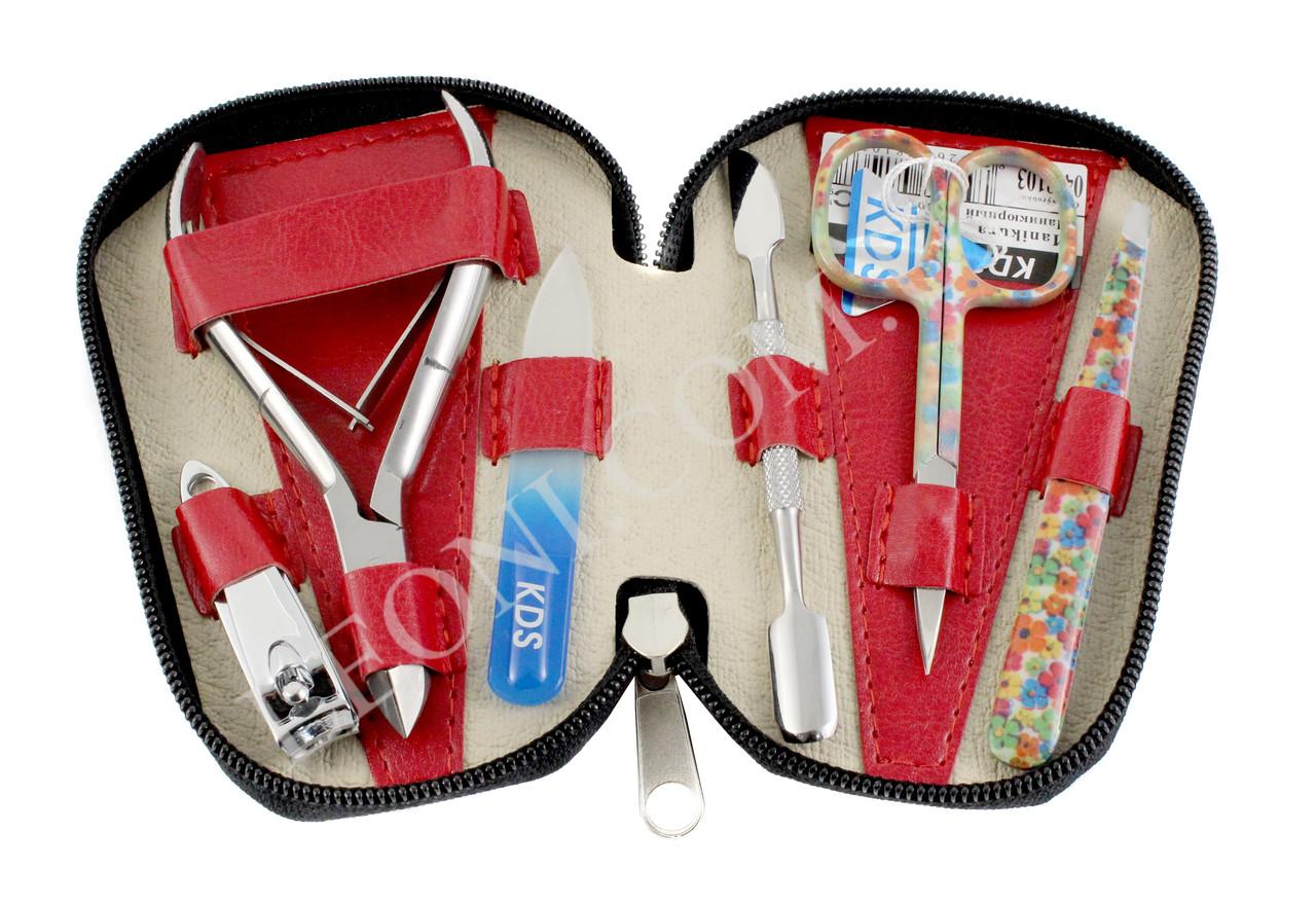 Красный набор маникюрного инструмента KDS 04-8103