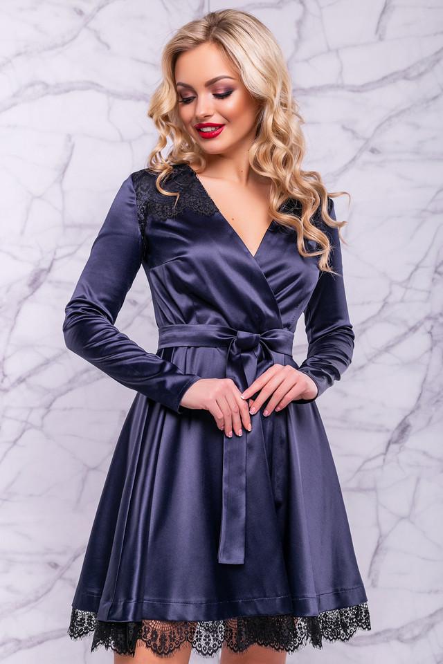 Женское нарядное платье, размер от 42 до 48, синее, атласное с гипюром, короткое, праздничное, вечернее