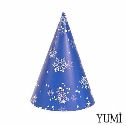 Колпак С Новым Годом Синий белые снежинки, фото 2