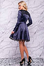 Нарядное женское платье атласное с кружевом синее, фото 5