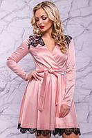Женское нарядное платье, размер от 42 до 48, персиковое, атласное с гипюром, короткое, праздничное, вечернее