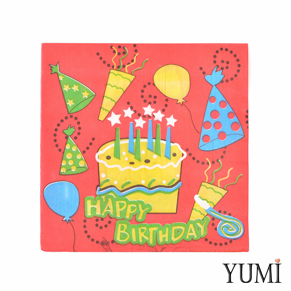 Салфетки торт со свечками Happy birthday, 20 шт.