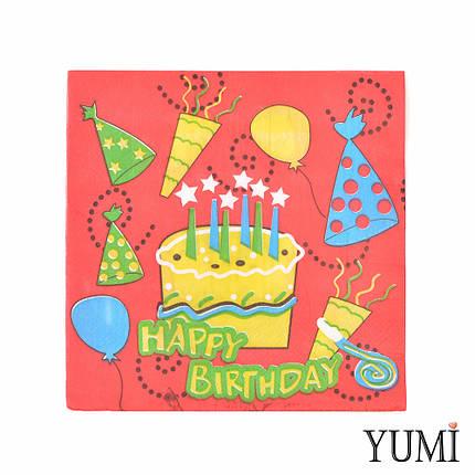 Салфетки торт со свечками Happy birthday, 20 шт., фото 2