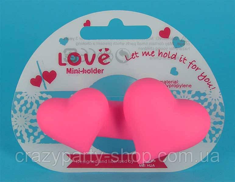 Вешалка- подставка Два сердечка на присоске