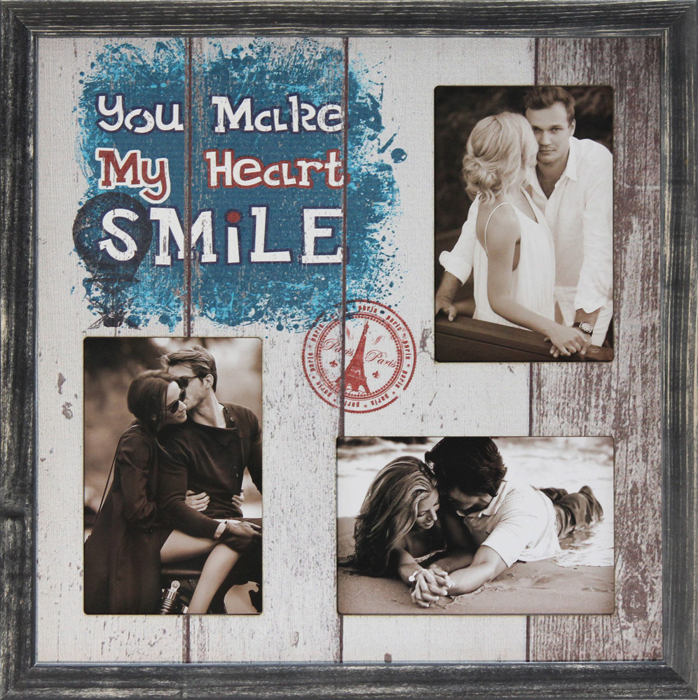 """Фоторамка коллаж """"You make my heart smile"""" 36х36см., рамка для фотографий, настенный декор и подарок"""