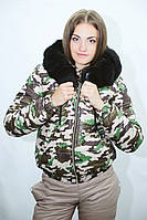 Женская термокуртка MONCLER спорт, цвет хаки(камуфляж)
