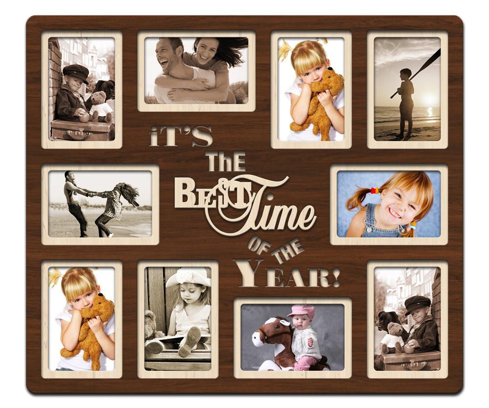 "Фоторамка коллаж  ""Best time of the year"" 51х59см., рамка для фотографий, настенный декор и подарок"