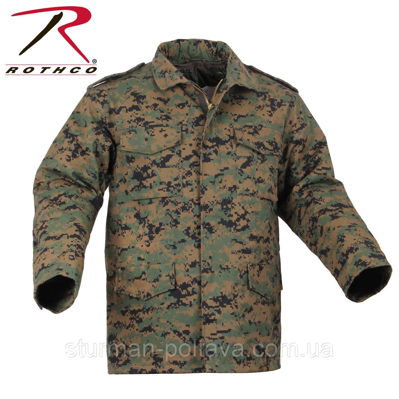 Куртка мужская зимняя М-65 ROTCHO   с подстежкой цвет АТ - диджитал вудланд  поликотон  размер L   США