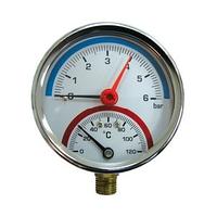 Термоманометр нижн. подкл.1/2 Ø80мм 120ºC 6 бар SD1726B