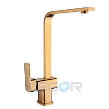 Смеситель для кухни Zegor LEB4-G (LEB4-A123G) однорычажный высокий золотой цвет