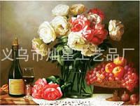 """Алмазна техніка """"Святковий стіл з квітами"""" (набір для творчості), фото 1"""