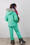 Зимний костюм для девочки Куртка и штани Стеганная плащевка на синтепоне Размер 116 122 128 134 140 146 , фото 5