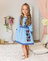 Голубое платье вышиванка для девочки