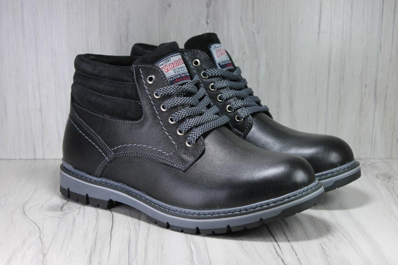 7cfe3dd3ec58 Мужские зимние ботинки натуральная кожа, натуральный мех на шнурках ...