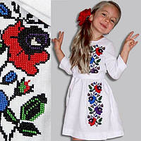 Белое платье вышиванка для девочки из домотканой ткани