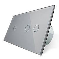 Сенсорный выключатель Livolo 1+2, цвет серый, стекло (VL-C701/C702-15)