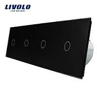 Сенсорный выключатель Livolo на 4 канала с дистанционным управлением, черный (VL-C704R-12)