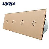 Сенсорный выключатель Livolo на 4 канала с дистанционным управлением, золото (VL-C704R-13)