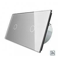 Двухсенсорный выключатель Livolo 1+1 с функцией ДУ, серый, стекло (VL-C701R/C701R-15), фото 1
