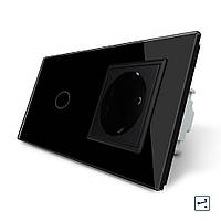 Сенсорный проходной выключатель с розеткой Livolo, цвет черный, стекло (VL-C701S/C7C1EU-12)