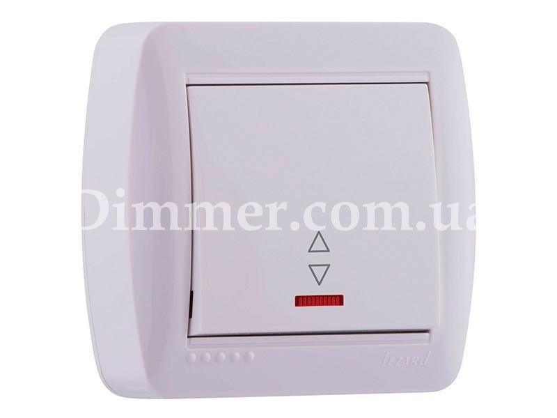 Выключатель проходной с подсветкой ТМ LEZARD серии Demet белый