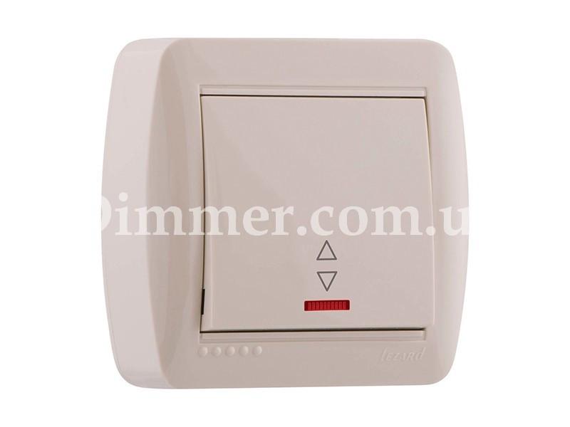 Выключатель проходной с подсветкой ТМ LEZARD серии Demet крем