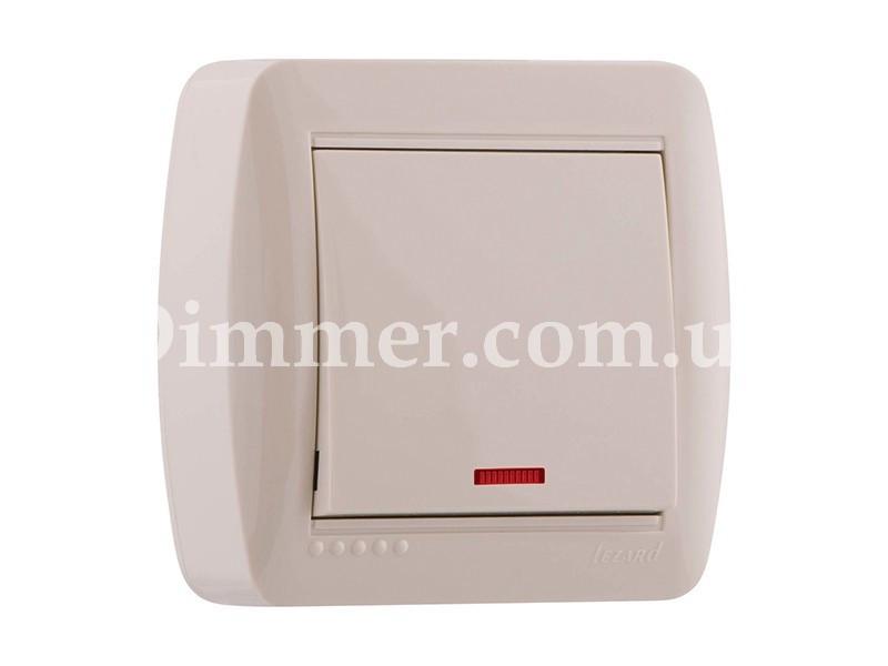 Выключатель с подсветкой ТМ LEZARD серии Demet крем