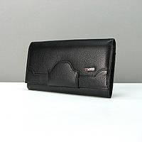 Черный женский кожаный кошелек на кнопке Desisan 128-1 классический из натуральной кожи, фото 1