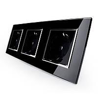 Розетка тройная с заземлением Livolo, цвет черный хром, материал стекло (VL-C7C3EU-12C), фото 1
