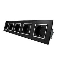 Розетка пятипостовая с заземлением Livolo, цвет черный, материал стекло (VL-C7C5EU-12C)