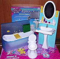 Мебель для кукол Gloria Глория 2820 Ванная комната Барби умывальник с зеркалом, унитаз, ванна, аксессуары