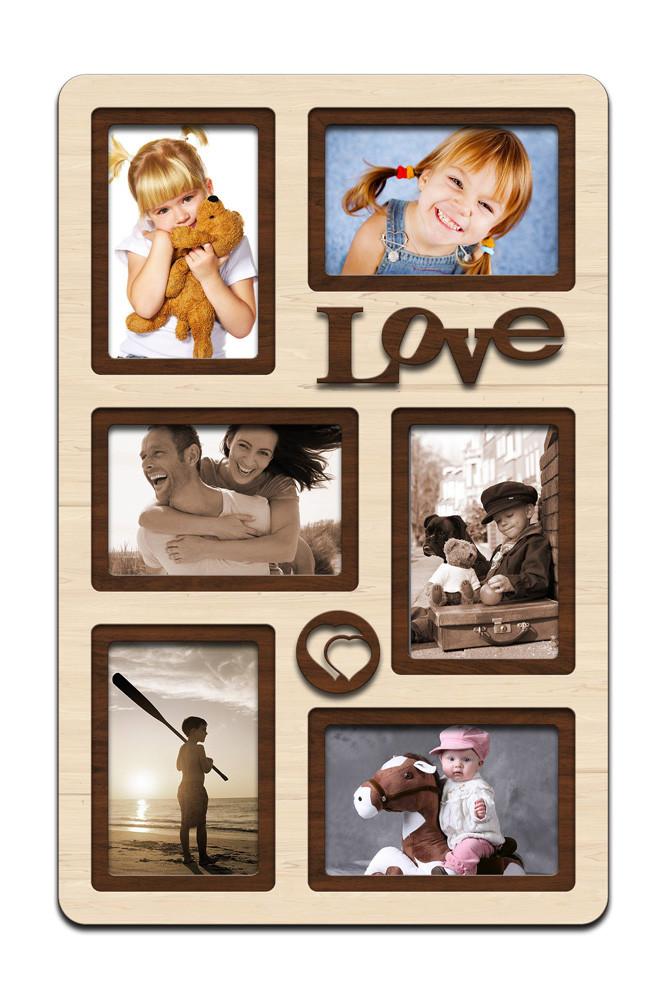 """Фоторамка коллаж вертикальная """"Love"""" 51х33см, рамка для фотографий, настенный декор и подарок"""