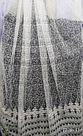 Кремовая тюль с плотной вышивкой кордом на микросетке На метраж и опт, фото 1
