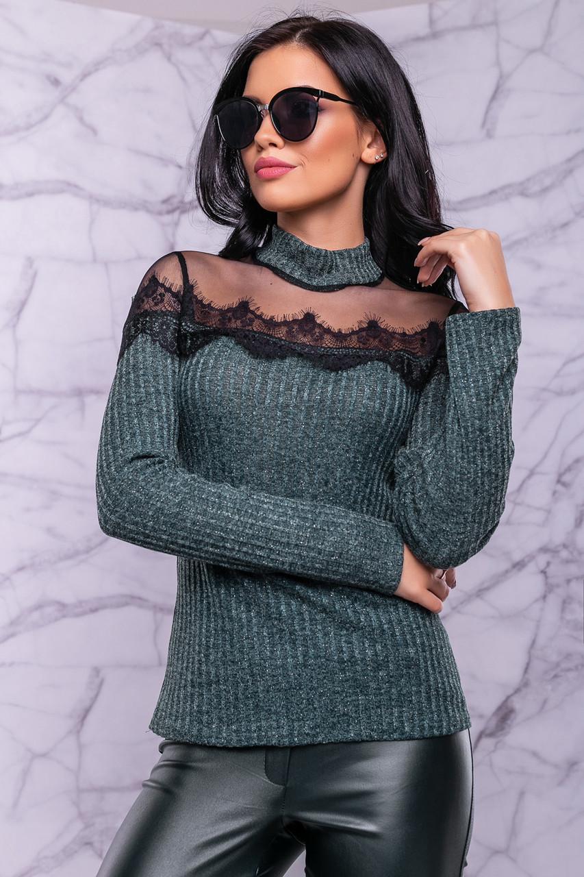 Женский свитер, размер 42 и 48, зелёный, трикотажный с люрексом и кружевом, нарядный