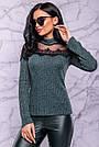 Женский свитер, размер 42 и 48, зелёный, трикотажный с люрексом и кружевом, нарядный, фото 5