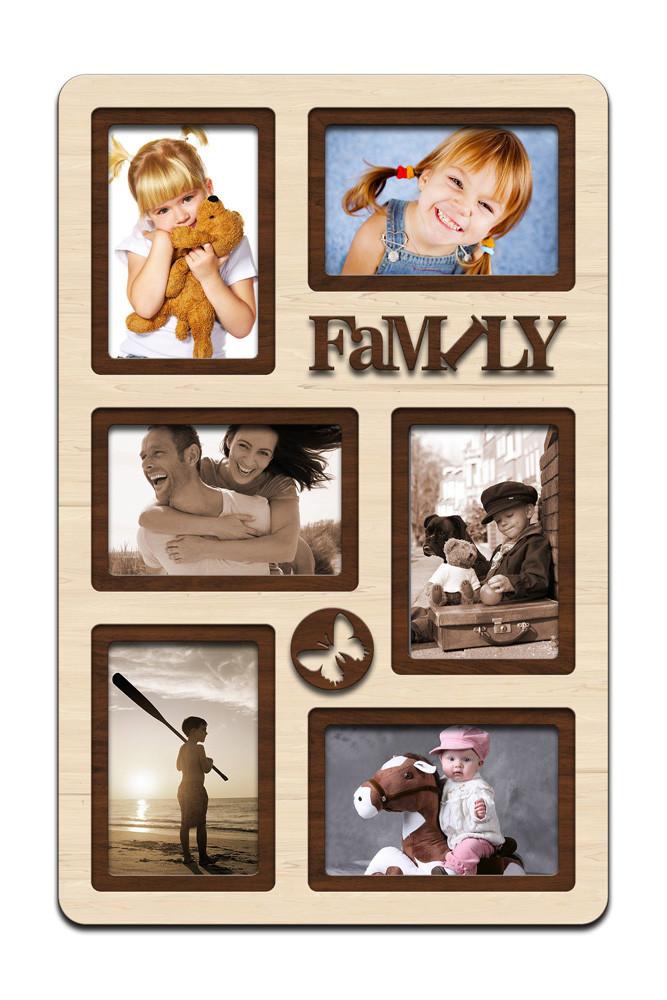 """Фоторамка коллаж вертикальная """"Family"""" 51х33см, рамка для фотографий, настенный декор и подарок"""