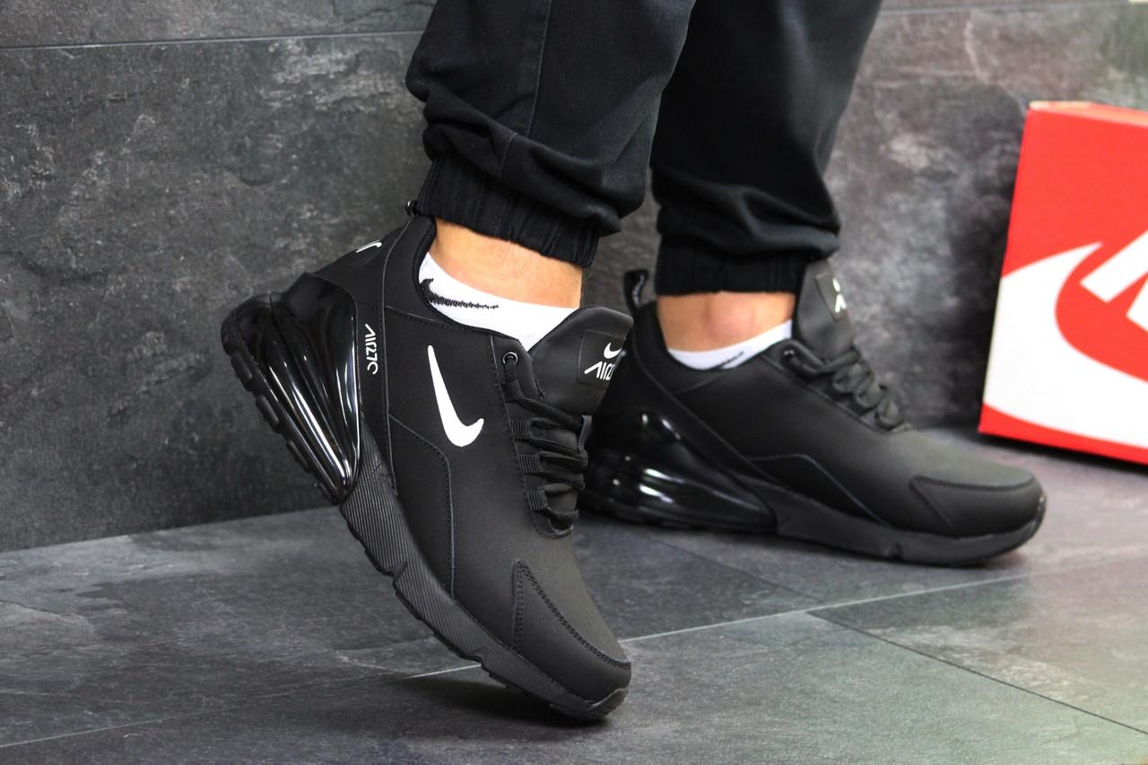 cfc0b54b Мужские кроссовки Nike Air Max 270 зима нубук на меху замшевые удобные  спортивные топ (черные