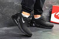 Мужские кроссовки Nike Air Max 270 зима нубук на меху замшевые удобные спортивные топ (черные), ТОП-реплика, фото 1