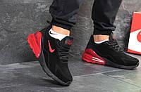 Мужские кроссовки Nike Air Max 270 зимние под джинсы на каждый день удобные спортивные (черные), ТОП-реплика, фото 1