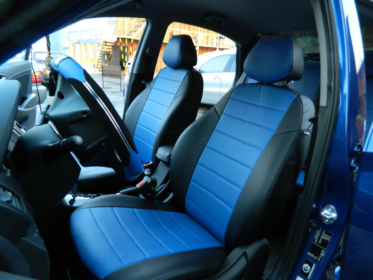 Чехлы на сиденья Рено Логан (Renault Logan) с 2013 г. (эко-кожа, модельные, 5 мест)